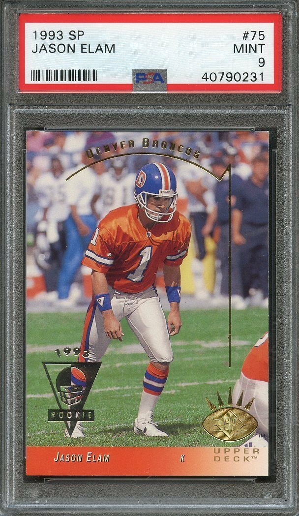 1993 sp #75 JASON ELAM denver broncos rookie card PSA 9