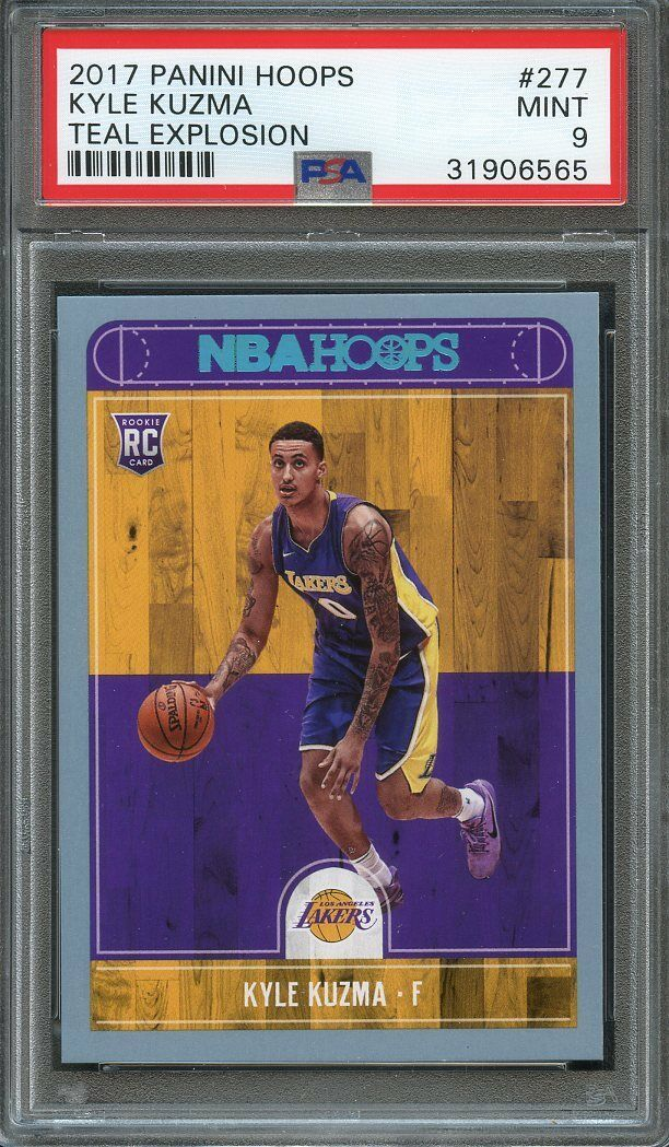 2017-18 panini hoops teal explosion #277 KYLE KUZMA lakers rookie card PSA 9