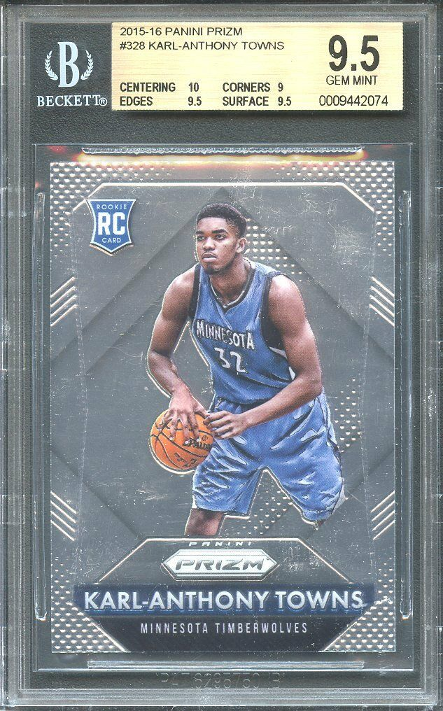 2015-16 panini prizm #328 KARL-ANTHONY TOWNS rookie card BGS 9.5 (10 9 9.5 9.5)