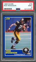 1989 score #78 ROD WOODSON pittsburgh steelers rookie card PSA 9