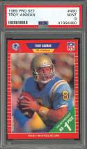 1989 pro set #490 TROY AIKMAN dallas cowboys rookie card PSA 9