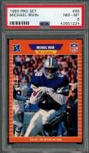 1989 pro set #89 MICHAEL IRVIN dallas cowboys rookie card PSA 8