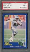 1989 score #72 CRIS CARTER philadelphia eagles rookie card PSA 7