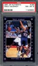 1997-98 sp authentic #166 TRACY MCGRADY toronto raptors rookie card PSA 8