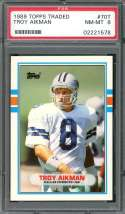 1989 topps traded #70t TROY AIKMAN dallas cowboys rookie card PSA 8