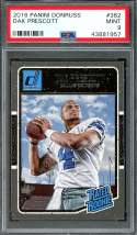 2016 panini donruss #362 DAK PRESCOTT dallas cowboys rookie card PSA 9