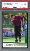 2001 upper deck golf #1 TIGER WOODS golf rookie card PSA 8