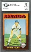 1975 topps #223 ROBIN YOUNT milwaukee brewers rookie card BGS BCCG 8