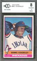 1976 topps #98 DENNIS ECKERSLEY cleveland indians rookie card BGS BCCG 8