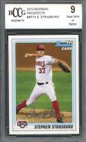 2010 bowman prospects #bp1a STEPHEN STRASBURG nationals rookie card BGS BCCG 9