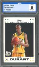 2007-08 topps #2 KEVIN DURANT seattle supersonics rookie card AGS 9