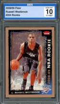 2008-09 fleer #204 RUSSELL WESTBROOK oklahoma city thunder rookie card AGS 10