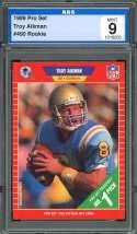 1989 pro set #490 TROY AIKMAN dallas cowboys rookie card AGS 9