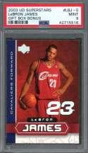 Lebron James Rookie Card 2003 Ud Superstars #Lbj-5 Cleveland Cavaliers PSA 9
