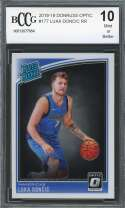Luka Doncic Rookie Card 2018-19 Donruss Optic #177 Dallas Mavericks BGS BCCG 10
