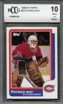 1986-87 topps #53 PATRICK ROY canadiens rookie card (50-50 CENTERED) BGS BCCG 10