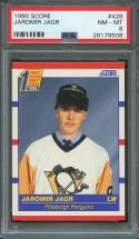 1990-91 score #428 JAROMIR JAGR pittsburgh penguins rookie card PSA 8
