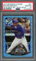 2013 bowman chrome dp & pros rk blue wave #41 NOLAN ARENADO rookie card PSA 10