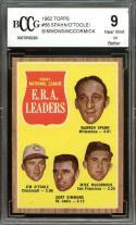 1962 topps #56 WARREN SPAHN/O'TOOLE/SIMMONS/MCCORMICK era leaders BGS BCCG 9