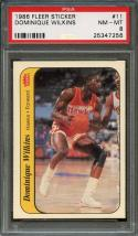 1986-87 fleer sticker #11 DOMINIQUE WILKINS atlanta hawks rookie card PSA 8