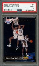 1992-93 upper deck #1 SHAQUILLE O'NEAL orlando magic rookie card PSA 9
