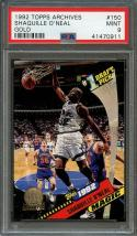1992-93 topps archives gold #150 SHAQUILLE O'NEAL orlando magic rookie PSA 9