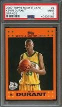 2007-08 topps rookie card orange #2 KEVIN DURANT warriors rookie card PSA 9