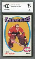 1971-72 topps #45 KEN DRYDEN canadiens rookie card (50-50 CENTERED) BGS BCCG 10