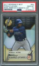 2017 bowman's best base amer 2017 dean's list #ra RONALD ACUNA rookie PSA 10