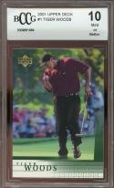 2001 upper deck #1 TIGER WOODS golf rookie card BGS BCCG 10