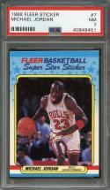 1988-89 fleer stickers #7 MICHAEL JORDAN chicago bulls (3rd YEAR CARD) PSA 7
