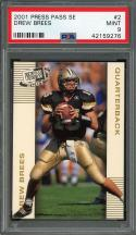 2001 press pass se #2 DREW BREES new orleans saints rookie card PSA 9