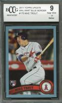 2011 topps update wal-mart blue border #us175 MIKE TROUT rookie card BGS BCCG 9