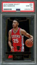 2016-17 panini select #60 BEN SIMMONS philadelphia 76ers rookie card PSA 10